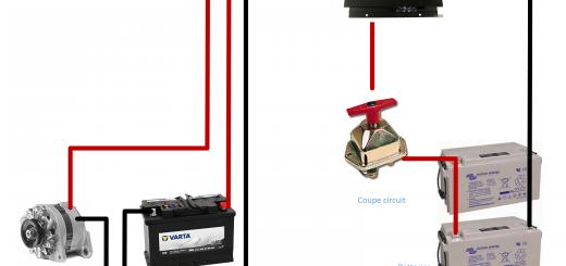 schema branchement batteries auxiliaires