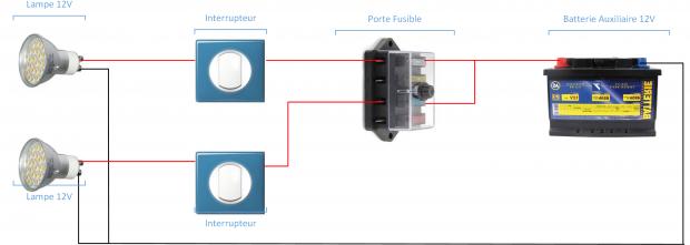 branchement 2 lampes 2 interrupteurs fourgon aménagé