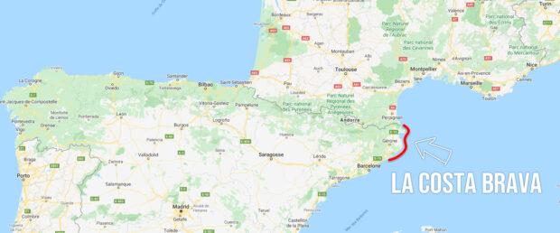 La Costa Brava en Espagne sur une carte